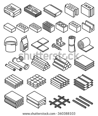 Building construction materials vector  - stock vector
