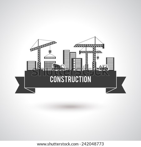 Building construction poster with cranes trucks and skyscrapers vector illustration - stock vector