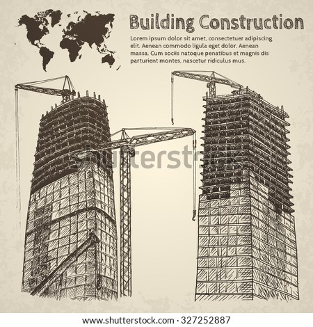 Building construction sketch. Hand drawn vector illustration. - stock vector