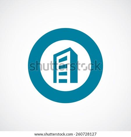 building icon bold blue circle border, white background   - stock vector