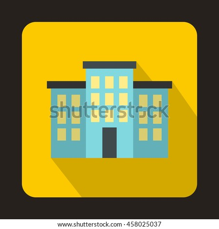 Building icon in flat style on a yellow background - stock vector