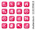 Building Icon Set  for web and mobile. All elements are grouped. - stock vector