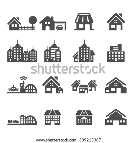building icon set 5, vector eps10. - stock vector