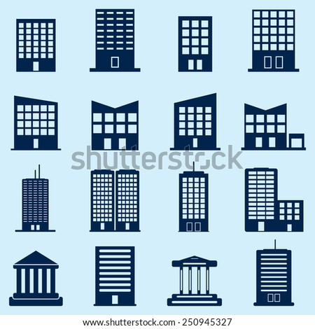 Building Icons - stock vector