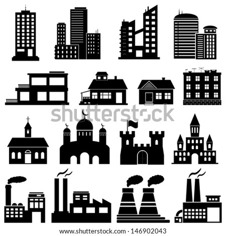 Building Icons Set. - stock vector