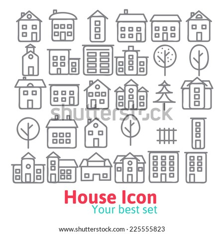 Building icons set.  Line vector illustration eps 10 - stock vector