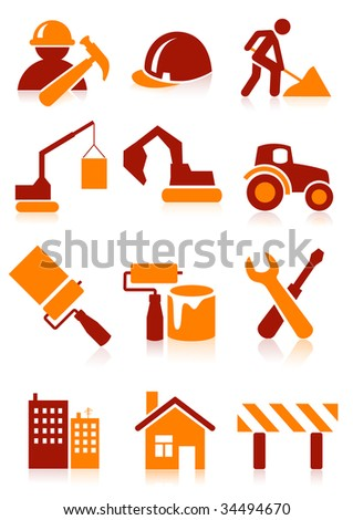 Building icons, vector illustration, EPS file included - stock vector