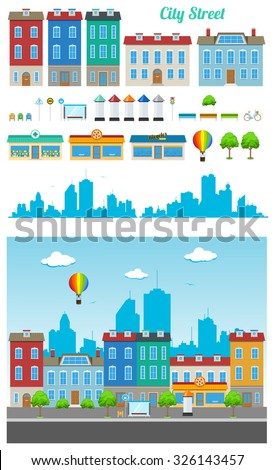 Building kit of urban municipal city buildings and constructions to make a real street from - stock vector