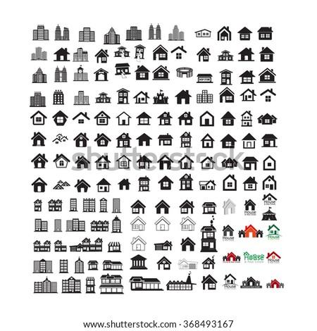 Building Real estate Home icons set Illustration design - stock vector