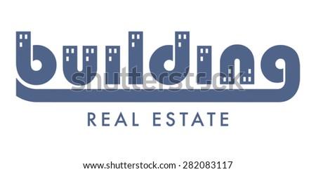 Building Real Estate. Logo represented as word 'building' with windows in houses. Real estate logo design template.  - stock vector