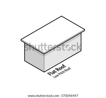 Building roof type: flat or low pitch roof. - stock vector