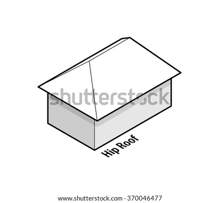 Building roof type: hip roof. - stock vector