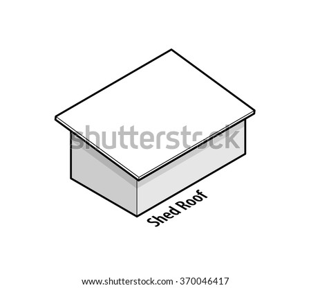 Building roof type: shed roof. - stock vector