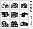 building set, architecture, real estate building icons - stock vector