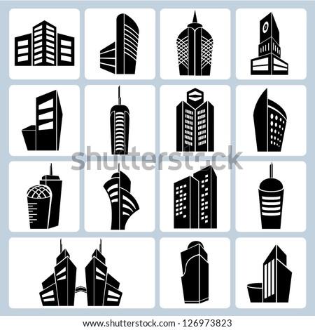 building set, 3d building icons - stock vector