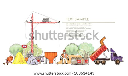 Building site background - stock vector