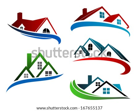 building symbols with home roofs for real estate business design - stock vector