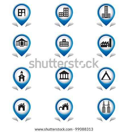 Building Tab Icons - stock vector