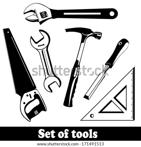 Building tools isolated vector set. Hand Tools (instruments) Kit. EPS 10 - stock vector