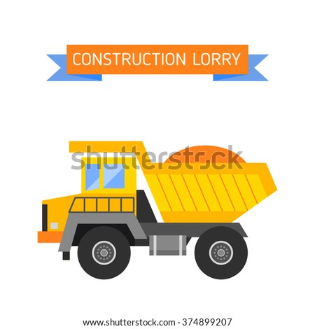 Building under construction tripper truck machine technics vector illustration. Building tripper truck machine. Tripper truck concept. Tripper truck vector isolated. Tripper truck vector icon isolated - stock vector