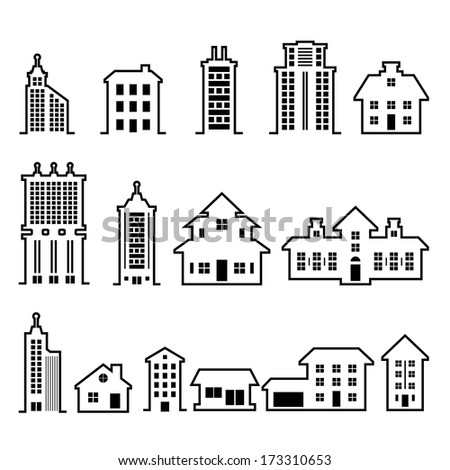 Building vector set - stock vector