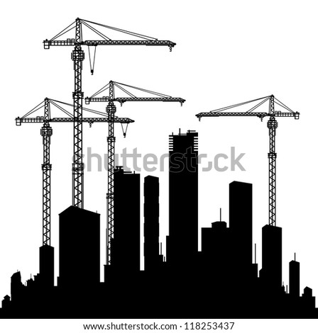 Buildings and cranes - stock vector