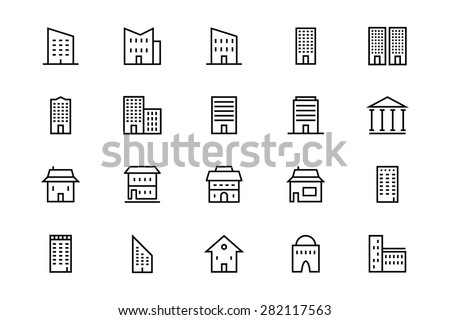 Buildings and Furniture Line Vector Icons 3 - stock vector