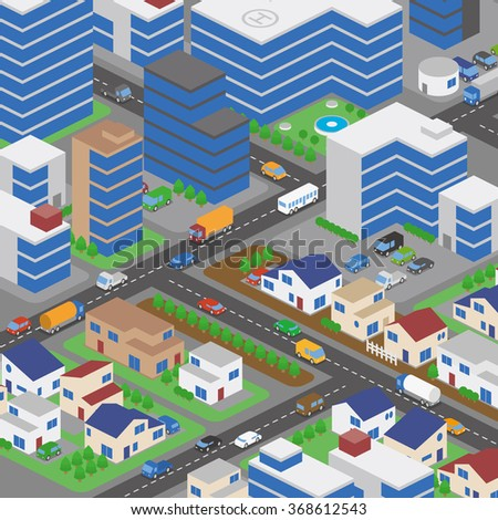 buildings and houses, roads and various vehicles, vector illustration - stock vector