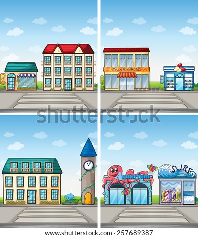 buildings and shops in the city - stock vector