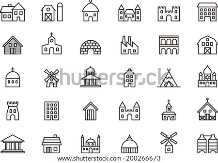 Buildings & Constructions icons - stock vector