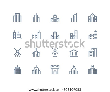 Buildings icons. Line series - stock vector