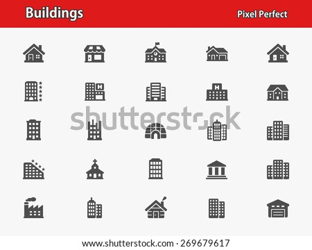 Buildings Icons. Professional, pixel perfect icons optimized for both large and small resolutions. EPS 8 format. - stock vector
