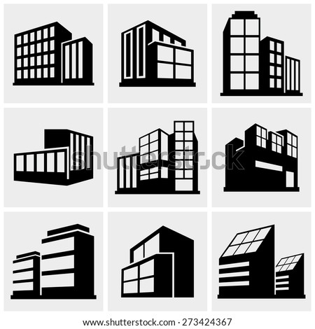 Buildings icons set on gray - stock vector