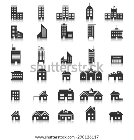 Buildings icons,Vector EPS10. - stock vector