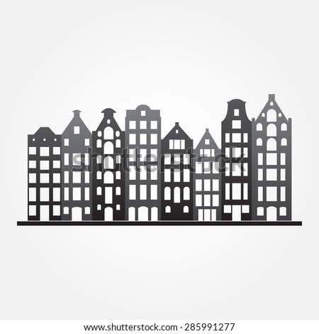 Buildings in old European style. City houses set. Urban landscape symbol. Vector illustration. - stock vector