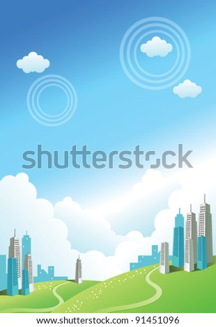 Buildings over the Green mountain - stock vector