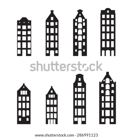 Buildings set. City houses in old European style. Urban landscape symbol. Vector illustration. - stock vector