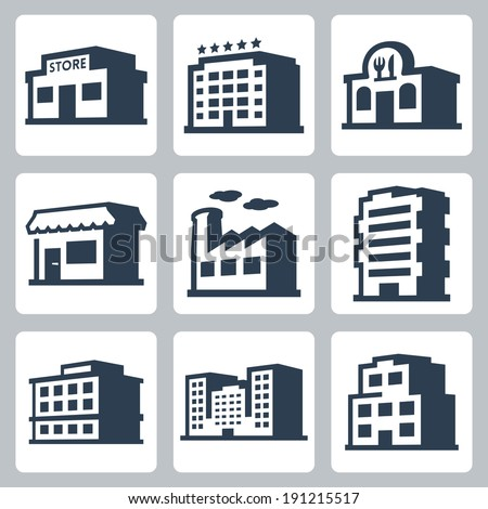 Buildings vector icons set, isometric style #1 - stock vector