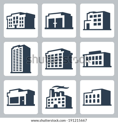 Buildings vector icons set, isometric style #2 - stock vector
