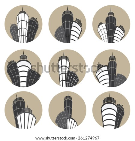 Buildings vector icons set. Vector illustration. - stock vector