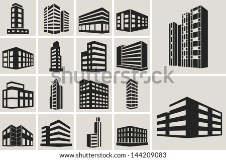 Buildings vector web icons set - stock vector