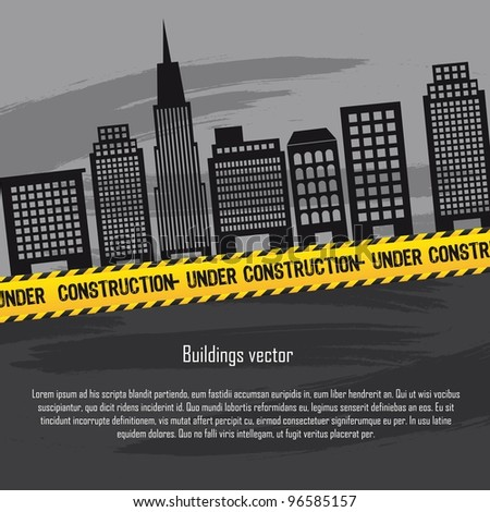 buildings with yellow line and copy space, under construction. vector - stock vector