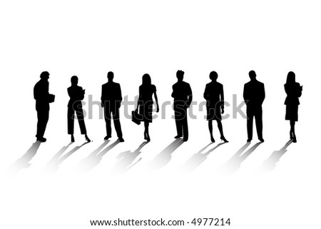 Buisness People Silhouettes (Vector) - stock vector