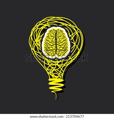 bulb brain icon in bulb concept vector - stock vector