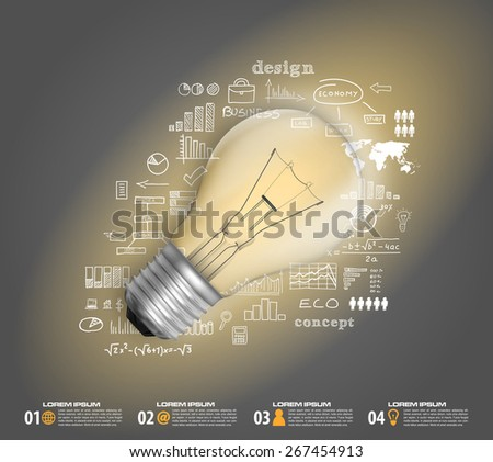 bulb business plan infographic in vector format - stock vector
