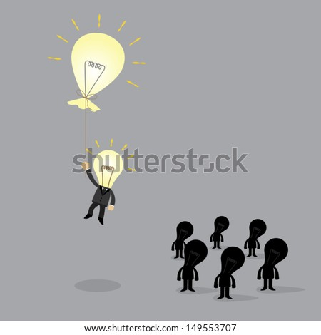 bulb businessman flying away with thebulb balloon innovation an idea of business concept - stock vector