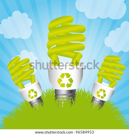 bulb electric over grass and sky, saving energy. vector illustration - stock vector
