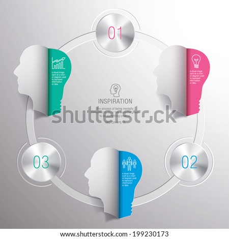 bulb,head,info graphic,text,number,paper,steel,inspiration - stock vector