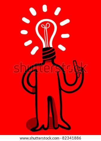 bulb head man - stock vector