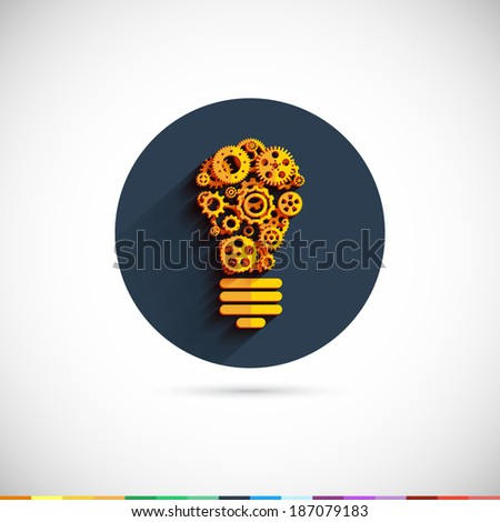 Bulb icon with gears and cogs. Business teamwork concept. Vector Illustration EPS10. - stock vector
